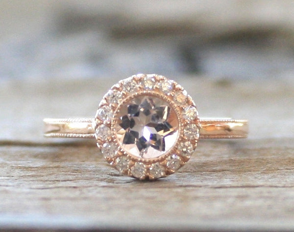 Round Champagne Pink Morganite Diamond Milgrain Bezel Halo Ring in 14K Rose Gold