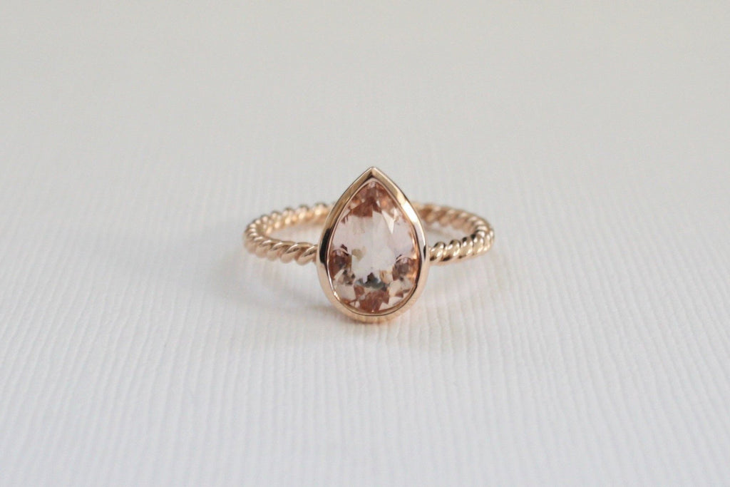 1.52 Cts. Peachy Pink Cor-de-Rosa Morganite Twist Ring in 14K Rose Gold