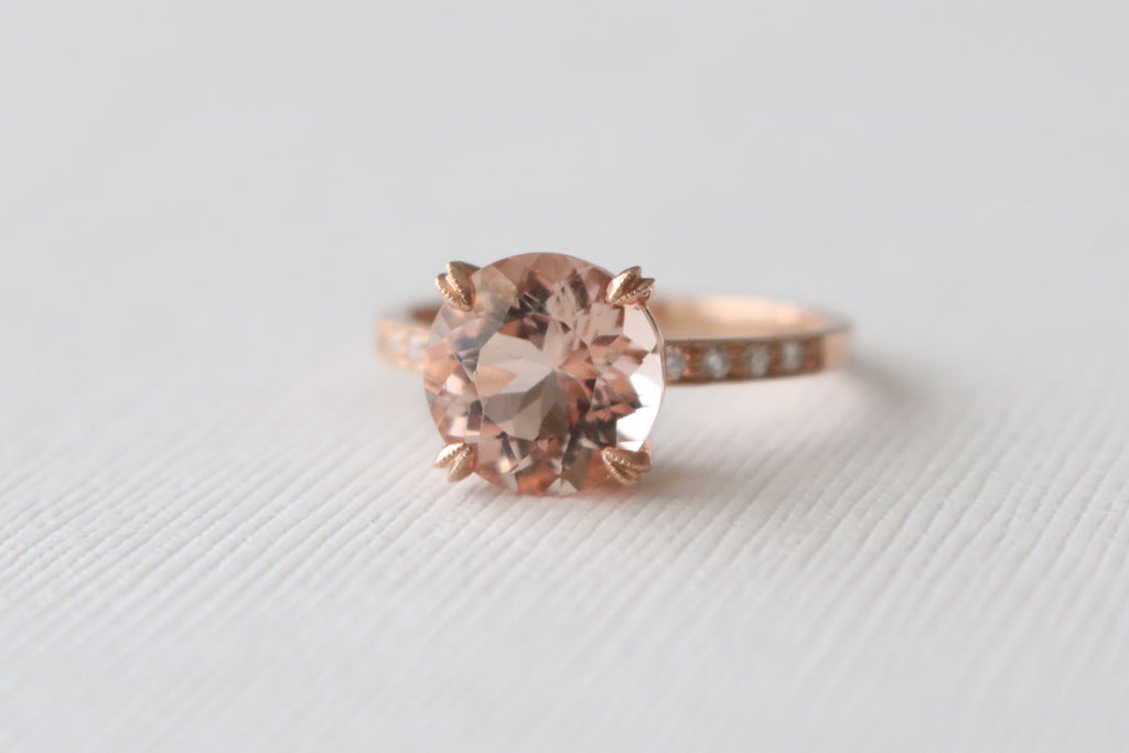 2.57 Cts. Morganite Solitaire Diamond Engagement Ring in 14K Rose Gold