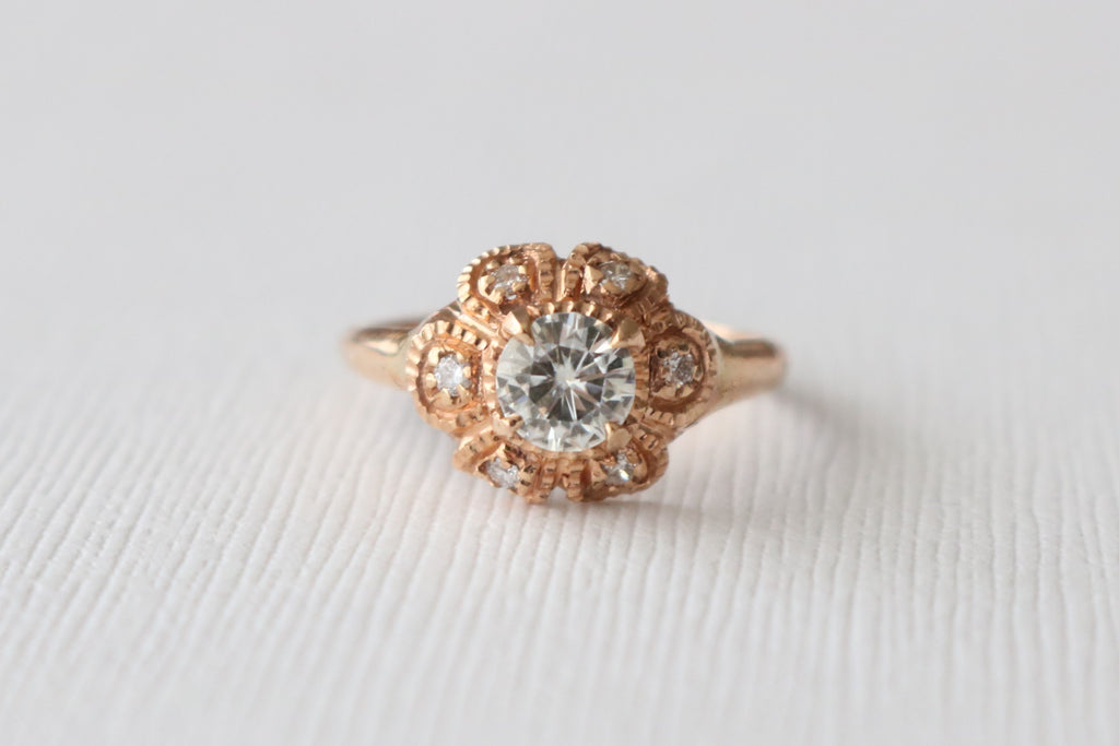 Round FB Moissanite Diamond Hand Milgrained Ring in 14K Rose Gold