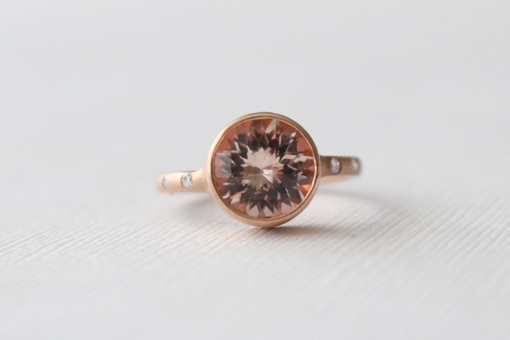 4.91 Cts. Morganite Diamond Ring in 14K Rose Gold