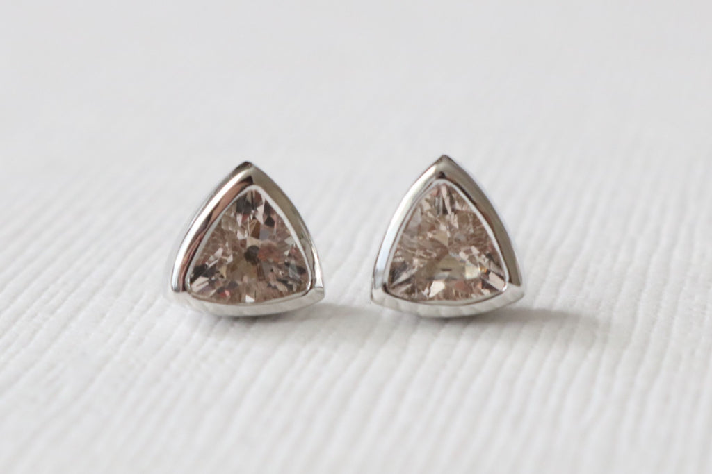 Trillion Cut Peachy Pink Morganite Stud Earrings in 14K White Gold