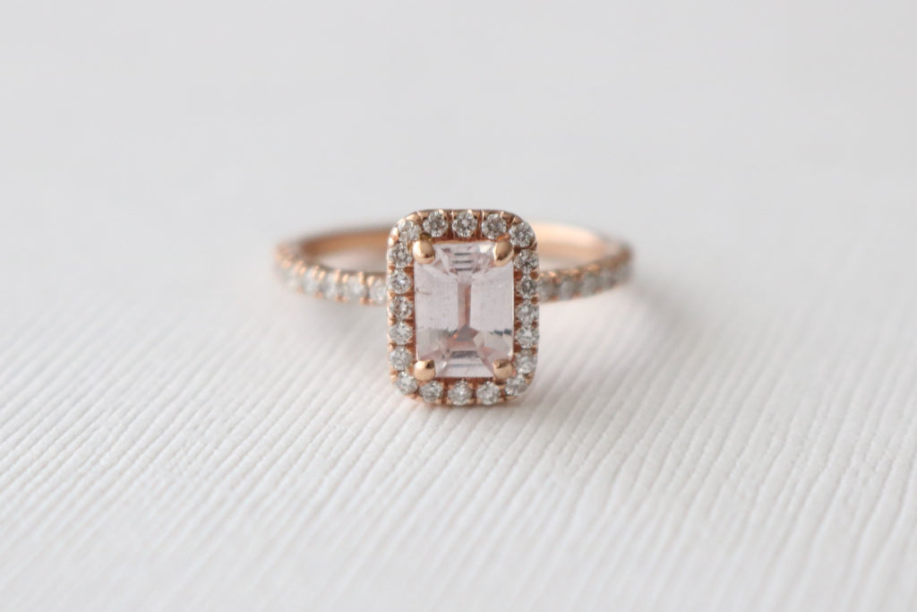 Emerald Cut Champagne Peach Sapphire Diamond Halo Ring in 14K Rose Gold