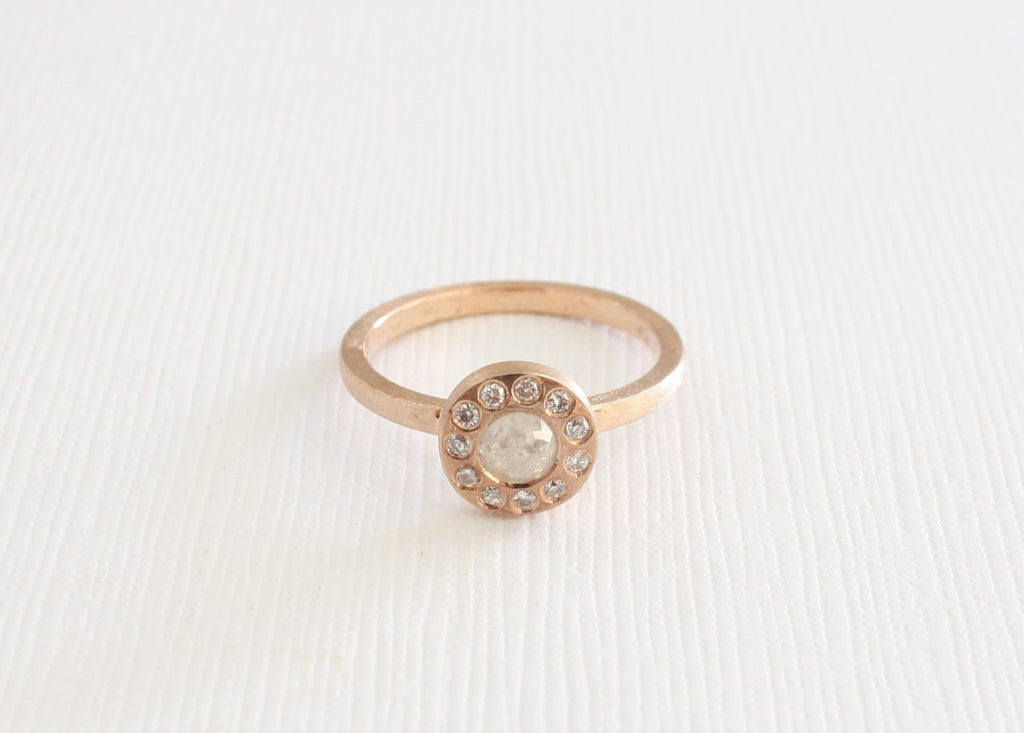 Rose Cut Gray Diamond Bezel Stacking Ring in 14K Rose Gold