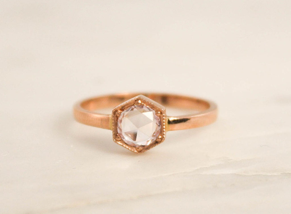 Rose Cut Light Pink Sapphire Hexagon Milgrain Bezel Ring in 14K Rose Gold