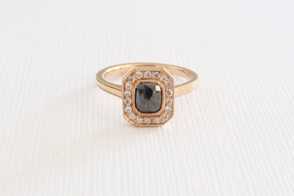 Milgrain Cushion Rose Cut Black Diamond Ring in 14K Rose Gold