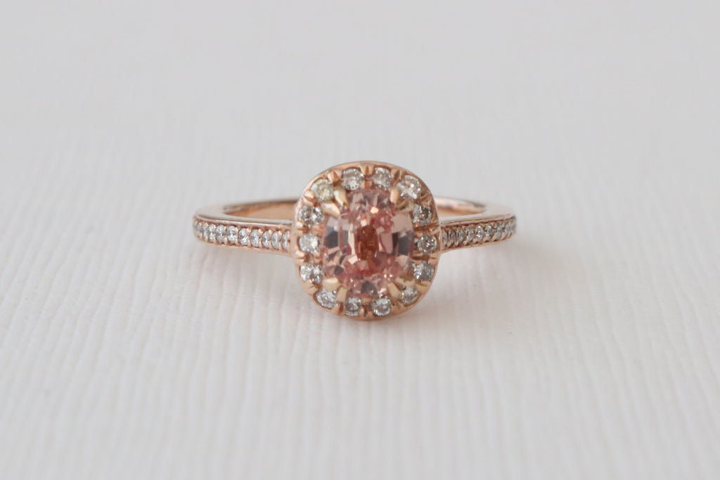Peach Oval Cushion Champagne Halo Diamond Ring in 14K Rose Gold