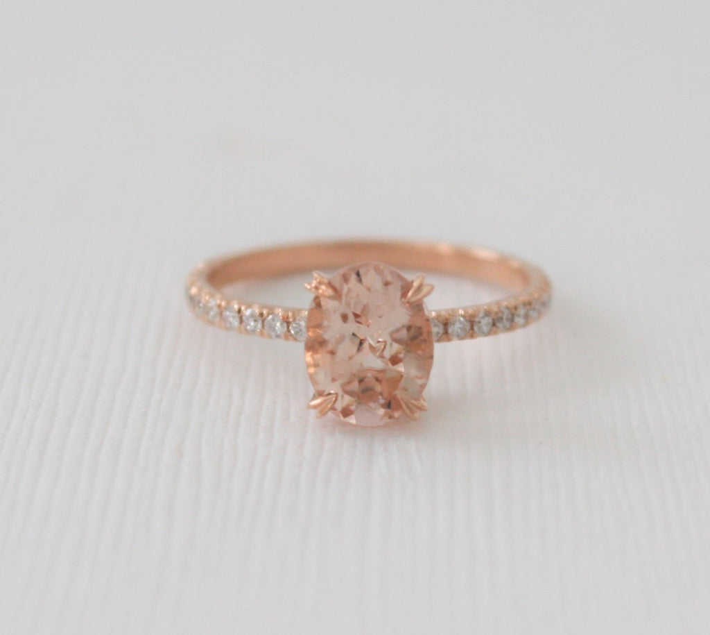 Oval Morganite Solitaire Diamond Engagement Ring in 14K Rose Gold