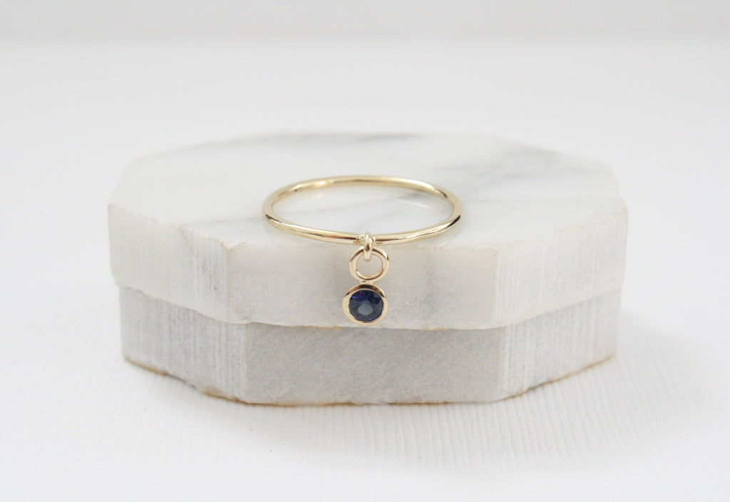 September Birthstone Sapphire Dangle Ring in 14K Solid Gold