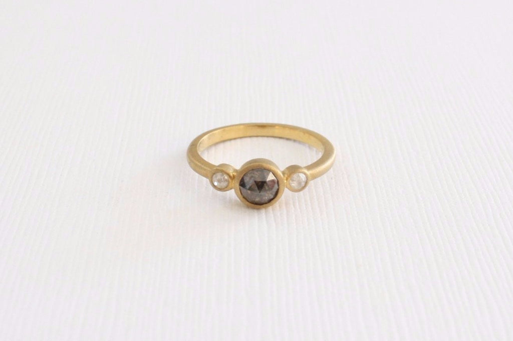 3 Stone Rose Cut Cognac Brown Diamond Bezel Ring in 14K Yellow Gold