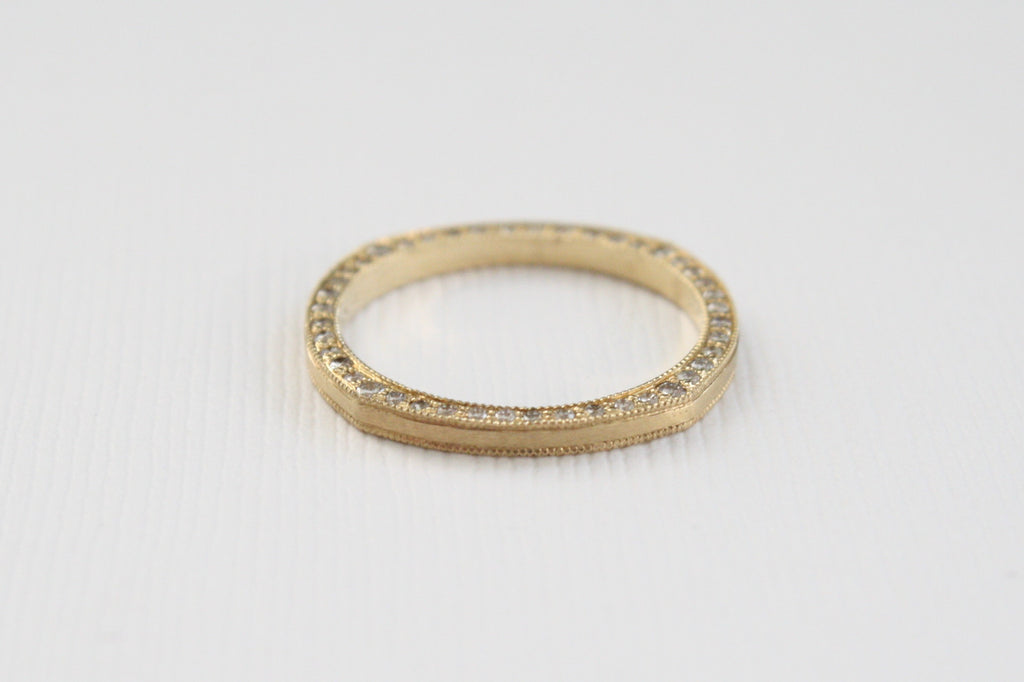 Milgrain Diamond Nut Ring in 14K Yellow Gold