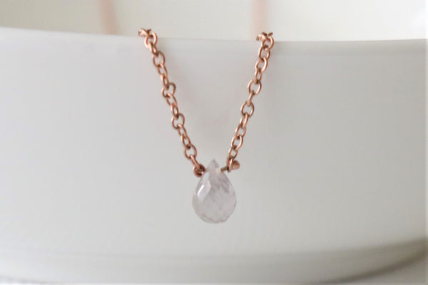 0.42 Ct. Solitaire Briolette Cut Light Pink Sapphire Necklace in 14K Rose Gold
