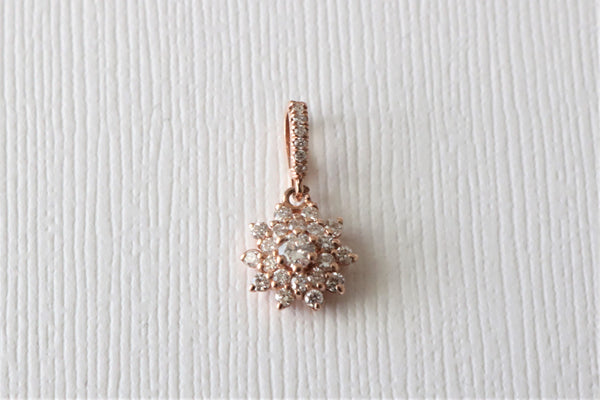 Diamond Flower Cluster Pendant in 14K Rose Gold