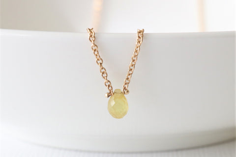 0.52 Ct. Solitaire Briolette Cut Yellow Sapphire Necklace in 14K Yellow Gold