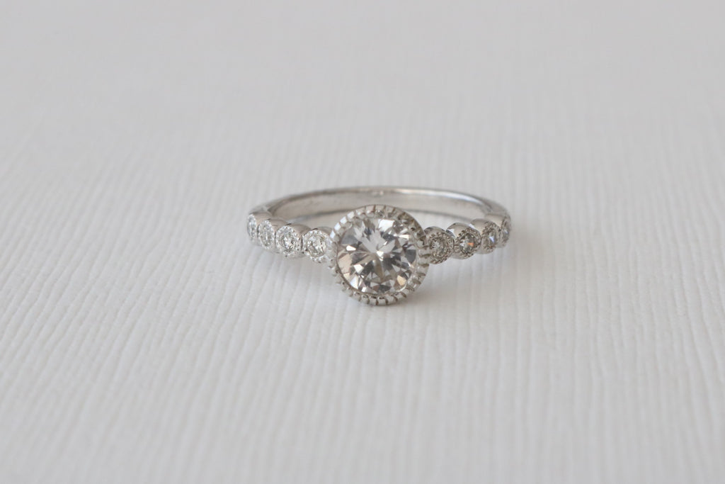 White Sapphire MIlgrain Bezel Diamond Ring in 14K White Gold