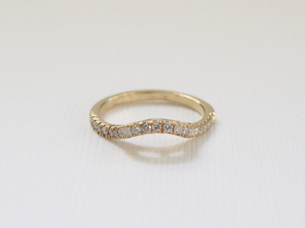 Handmade Curved Diamond Band in 14K Yellow Gold
