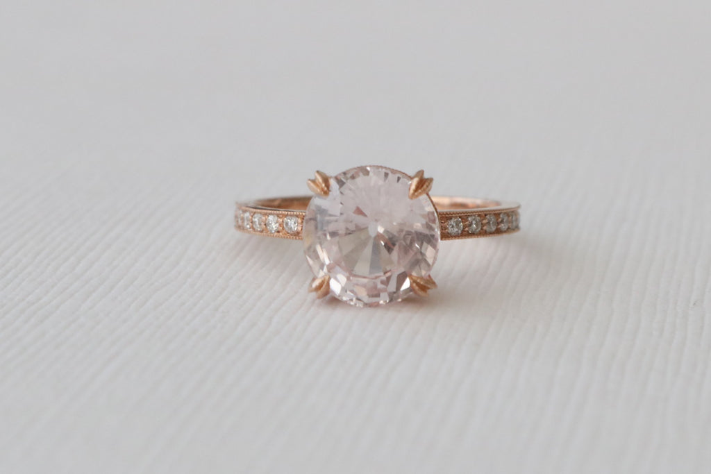 GIA Certified 3.53 Cts. Round Peach Pink Solitaire Sapphire Diamond Ring in 14K Rose Gold