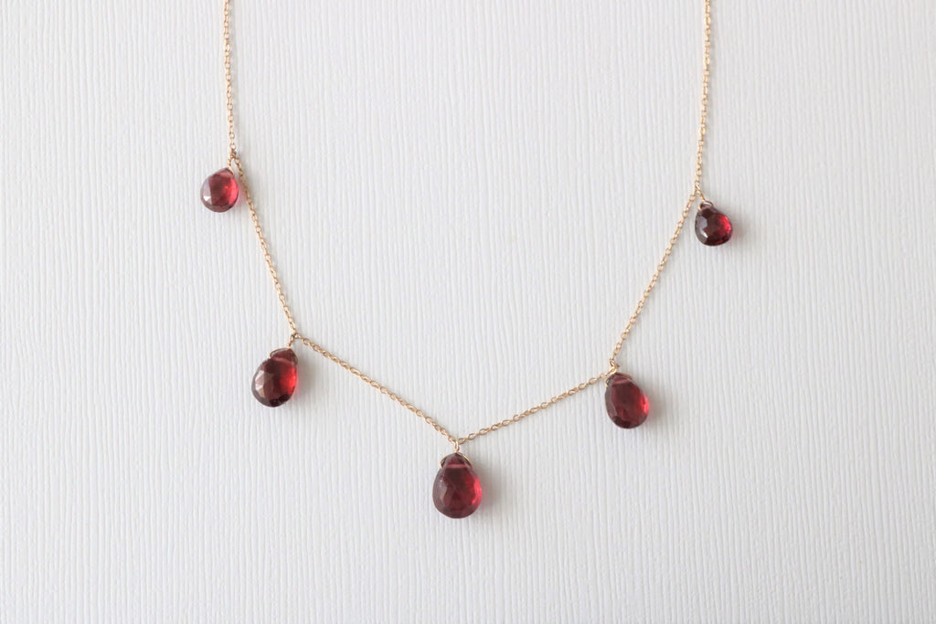 Pear Drop Red Garnet Necklace in 14K Yellow Gold