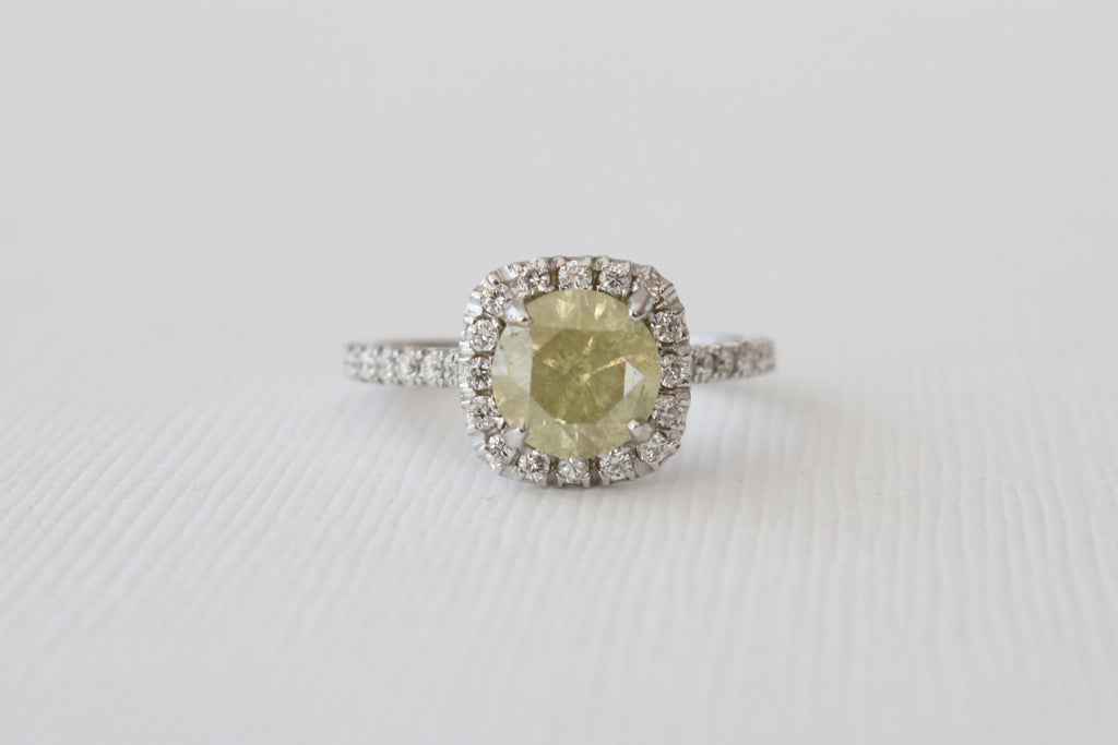 Certified Fancy Light Yellow Diamond Cushion Halo Engagement Ring in 14K White Gold