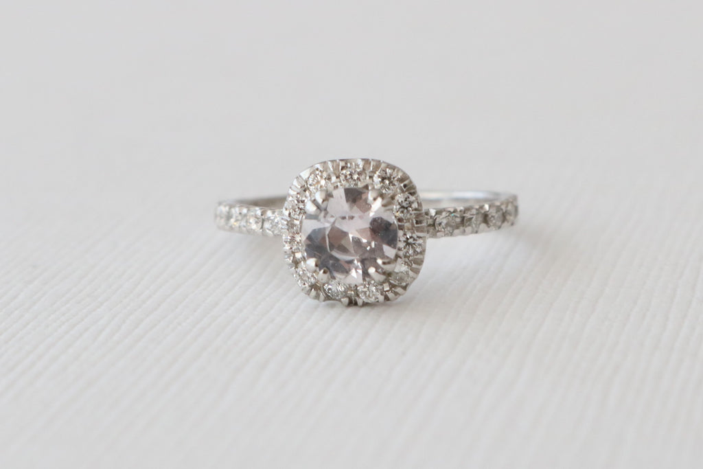 Peach Sapphire Cushion Halo Diamond Engagement in 14K White Gold