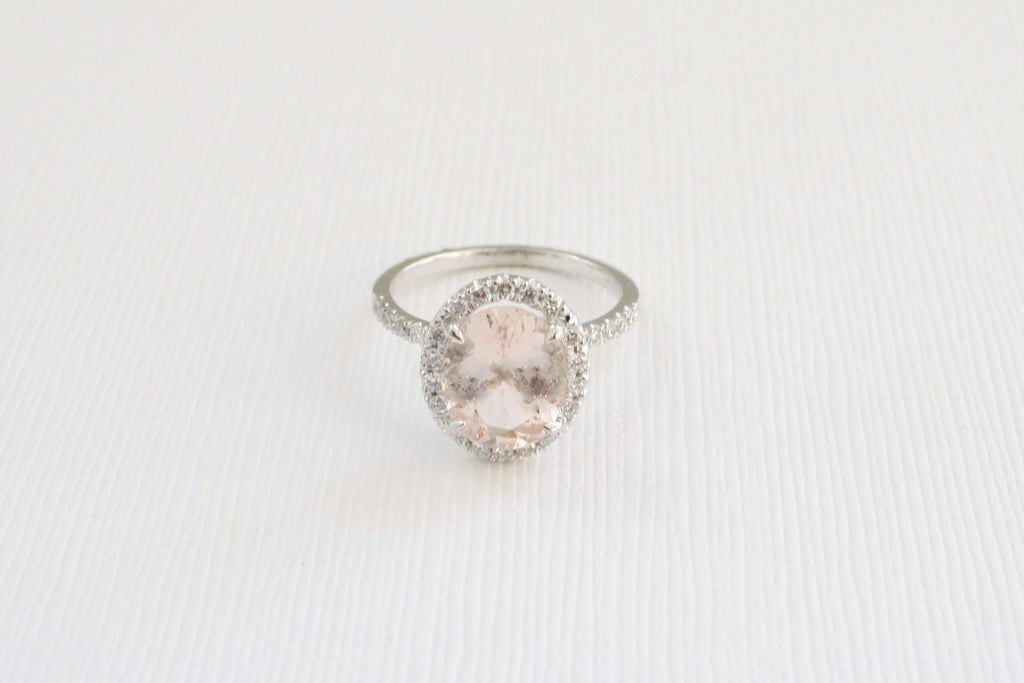 2.28 Cts. Oval Morganite Diamond Engagement Ring in 14K White Gold