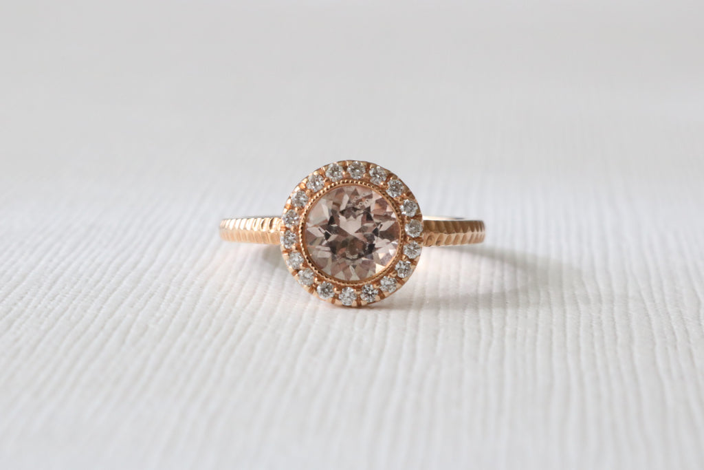Morganite Milgrained Diamond Halo Ring in 14K Rose Gold