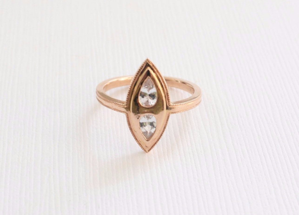 Pear Shaped White Sapphire Navette Ring in 14K Rose Gold