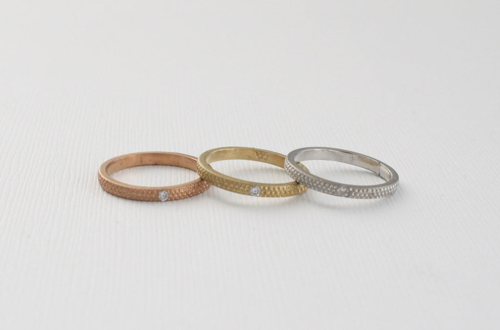 Tri-Color Matte Finish Textured Diamond Ring in 14K Solid Gold