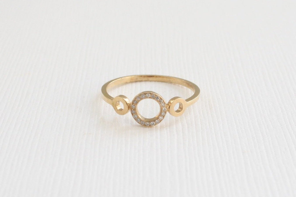 Circles Diamond Ring in 14K Yellow Gold