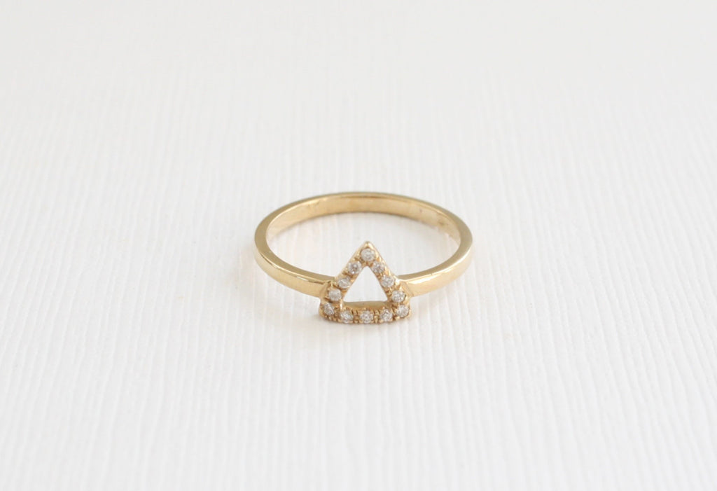 Triangle Diamond Ring in 14K Yellow Gold