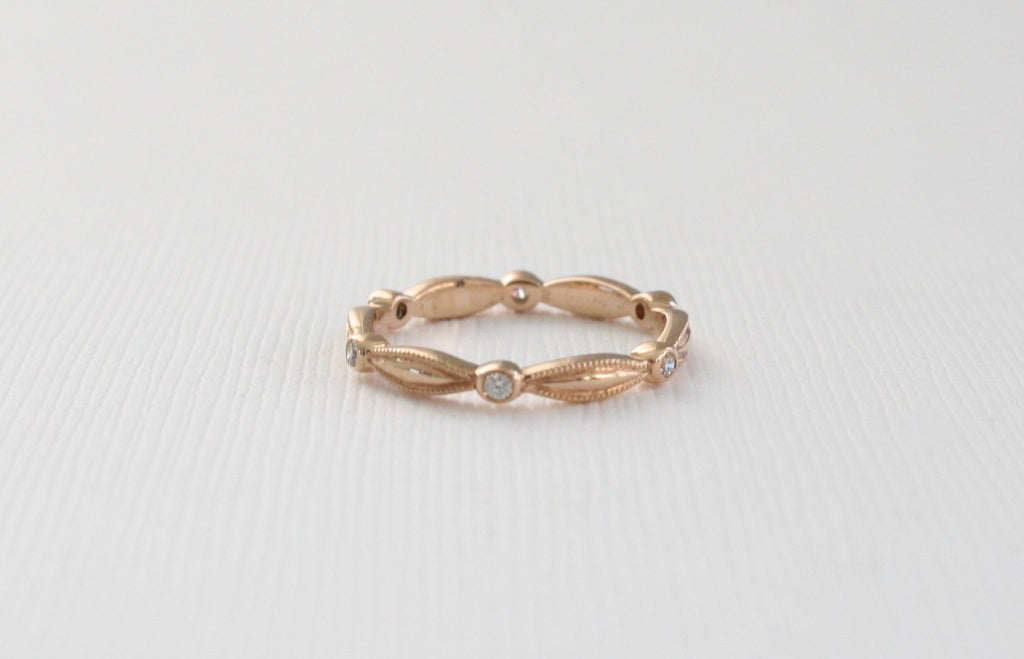 Handmade Milgrain Ribbon Eternity Ring in 14K Rose Gold