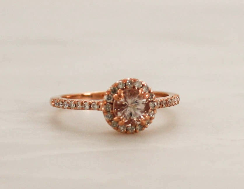 Round Morganite Diamond Engagement Ring in 14K Rose Gold