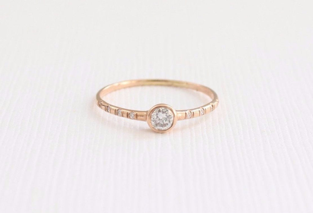 Solitaire Diamond Bezel Ring in 14K Rose Gold