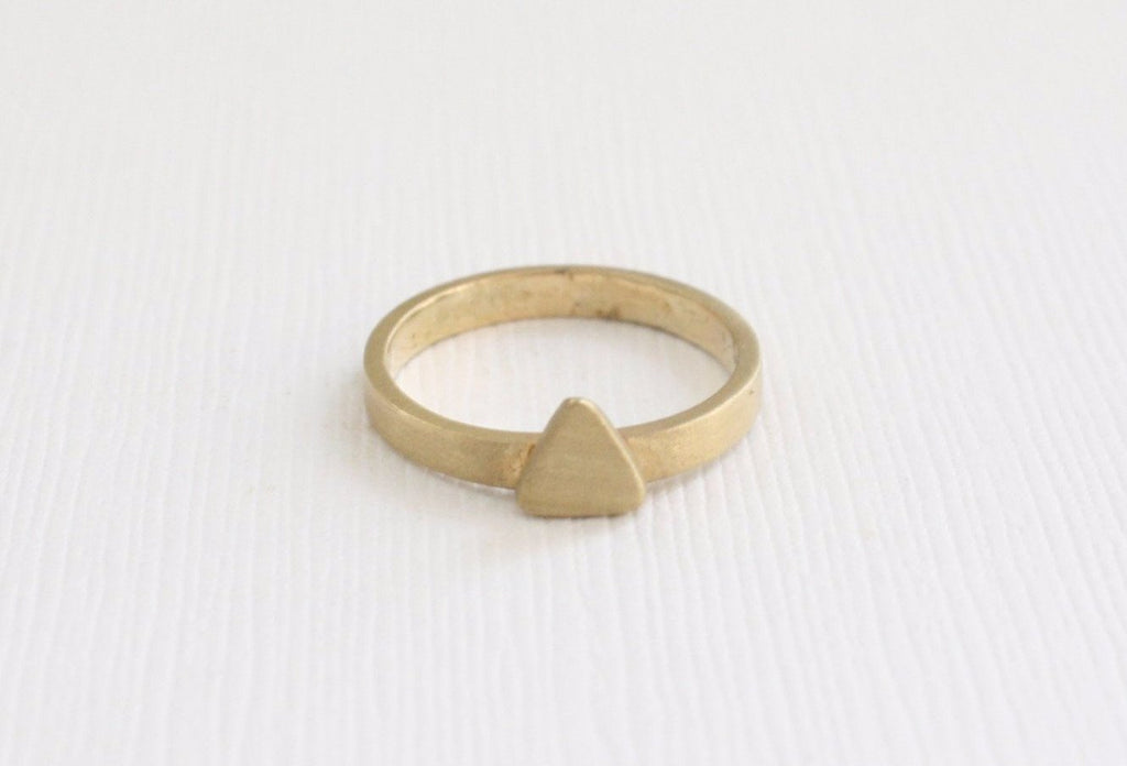 Solid Gold Stackable Triangle Ring in Matte Finish 14K