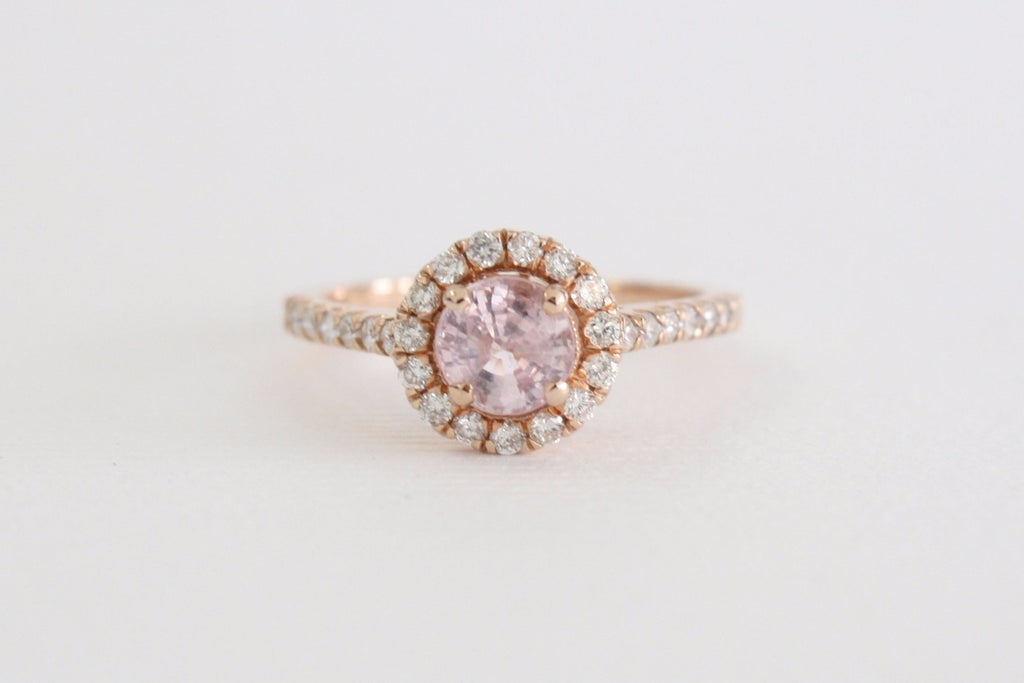 SET - Peach Pink Champagne Round Sapphire Halo Diamond Ring in 14K Rose Gold