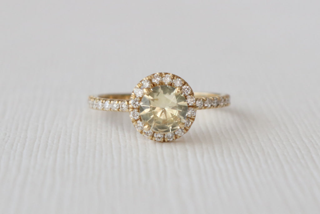 Fancy Light Yellow Sapphire Halo Diamond Engagement in 14K Yellow Gold