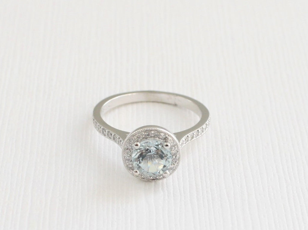 Aquamarine Diamond Engagement Halo Ring in 14K White Gold - March Birthstone