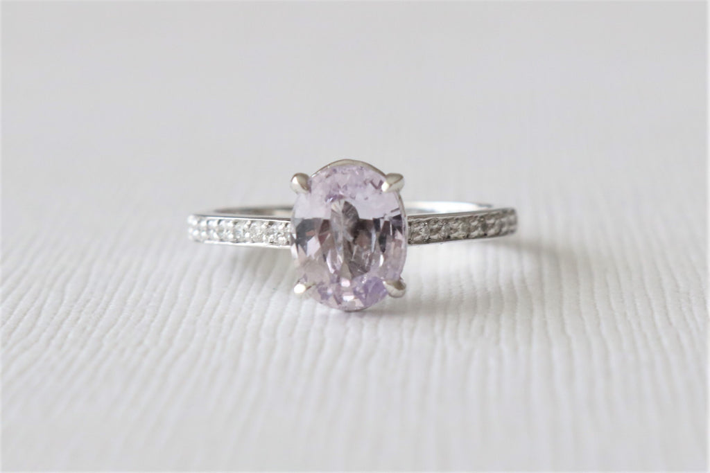 Oval Ballerina Pink Sapphire Solitaire Diamond Engagement Ring in 14K White Gold