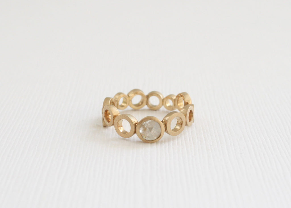Rose Cut Diamond Bubble Ring in 14K Yellow Gold