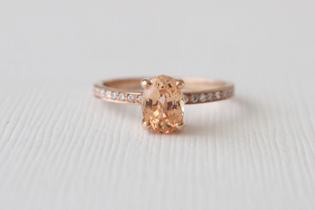 Oval Peach Unheated Sapphire Solitaire Diamond Engagement Ring in 14K Rose Gold