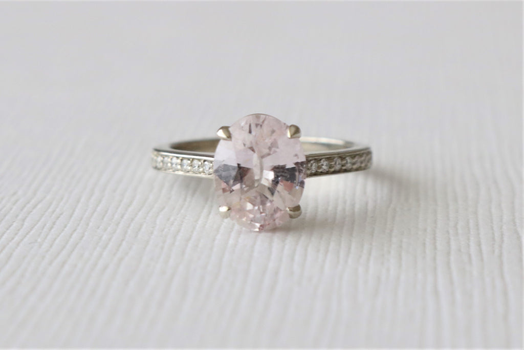 GIA Certified 2.09 Cts. Oval Light Pink Sapphire Solitaire Diamond Engagement Ring in 14K White Gold