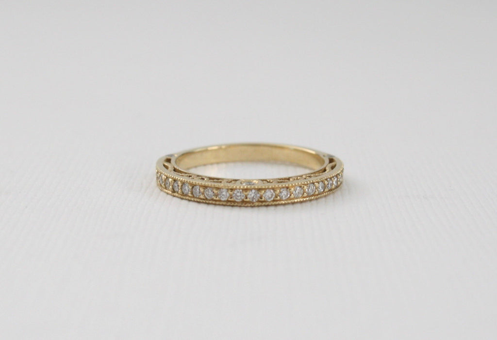 Milgrained Pave' Diamond Scroll Band in 14K Gold