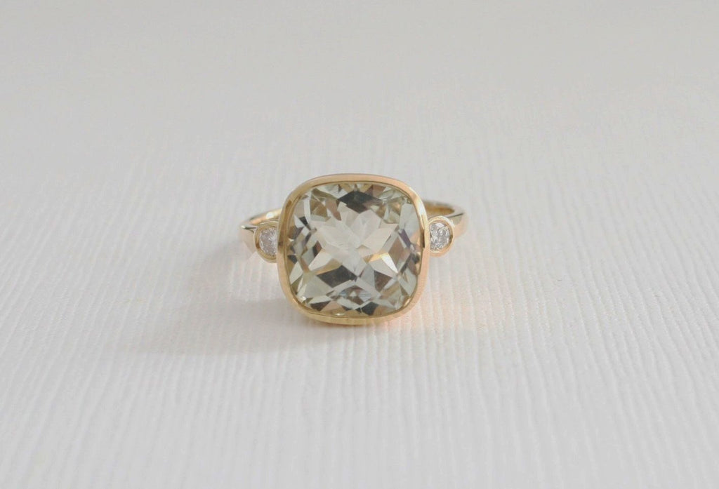 3 Stone Green Amethyst Bezel and Diamond Ring in 14K Yellow Gold