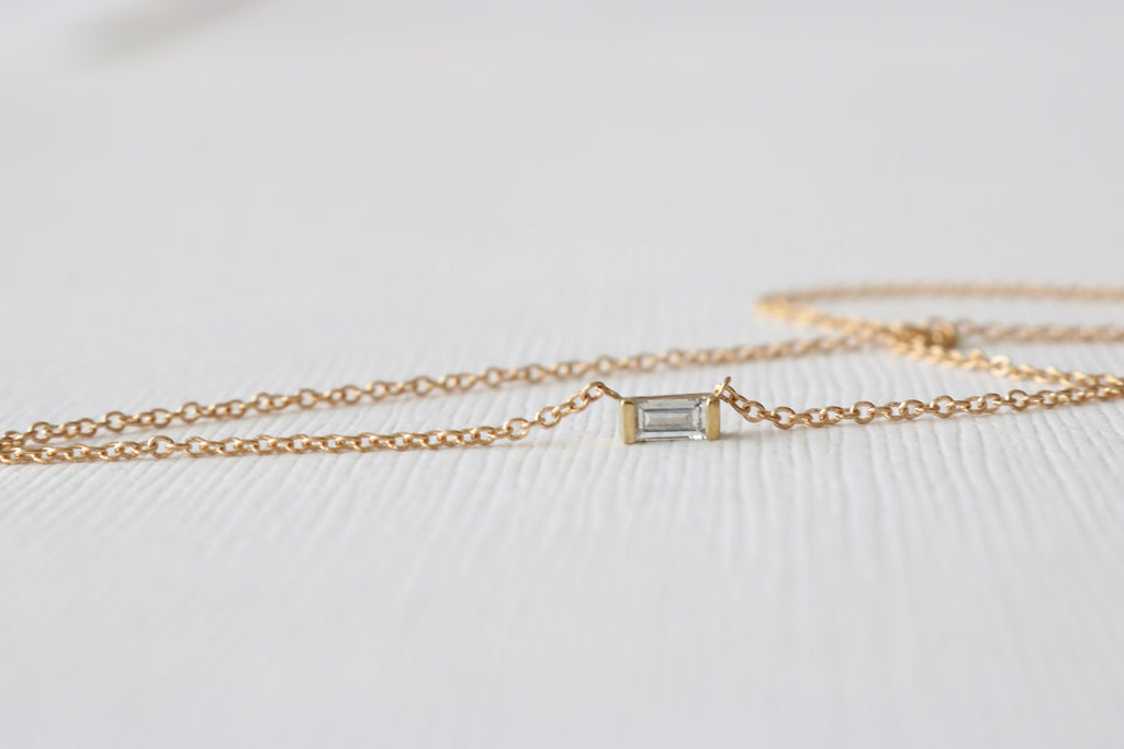 Diamond Baguette Bar Necklace in 14K Yellow Gold