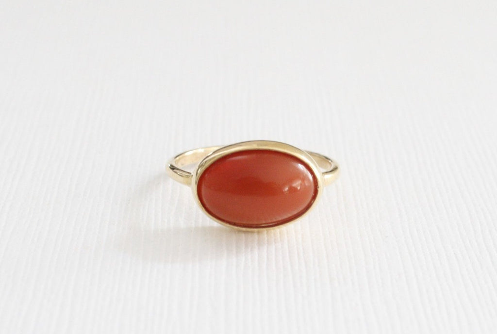 4.58 Cts. Mexican Fire Opal Cabochon Ring in 14K Yellow Gold