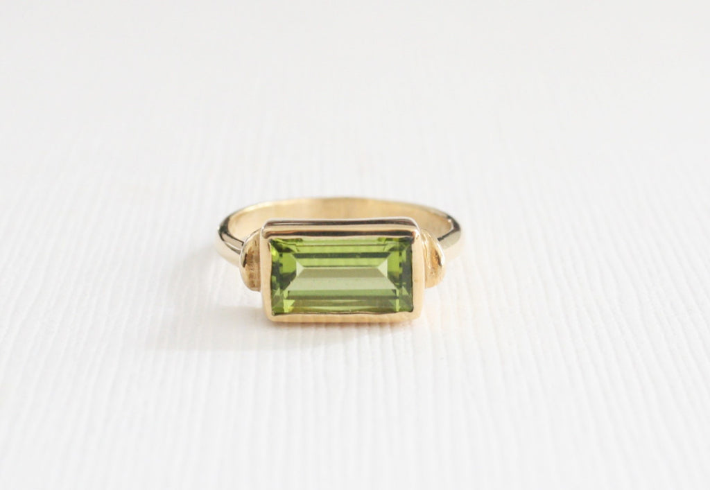 Rectangular Peridot Stack Ring in 14K Yellow Gold