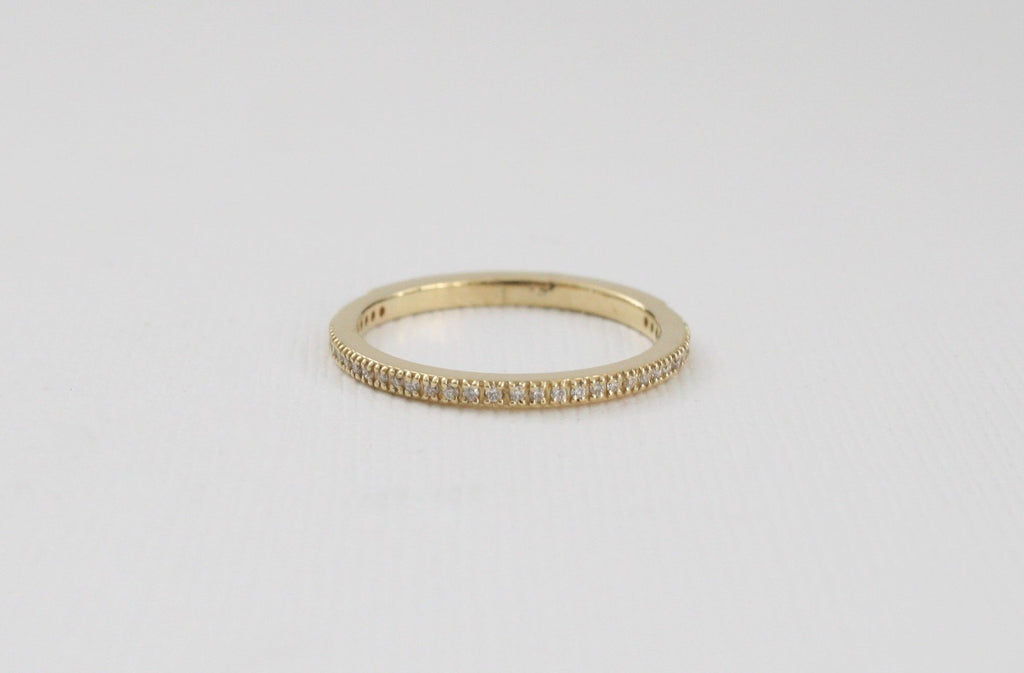 Handmade Half Eternity Diamond Stacking Ring in 14K Gold