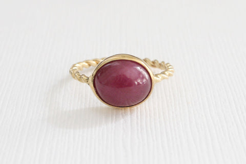 7.49 Cts Ruby Oval Cabochon Ring in 14K Yellow Gold