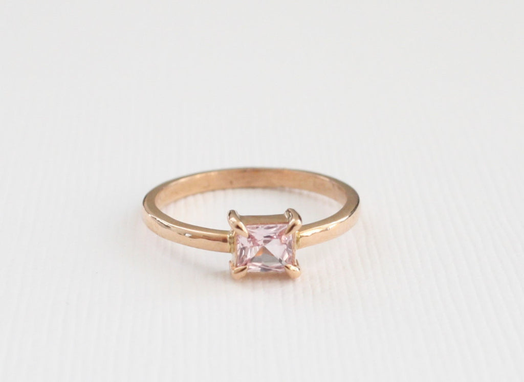 Princess Cut Padparadscha Sapphire Solitaire Ring in 14K Rose Gold