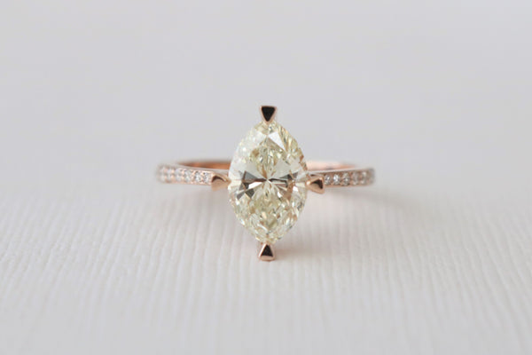Marquise Cut Compass Prong Diamond Engagement Ring in 14K Rose Gold